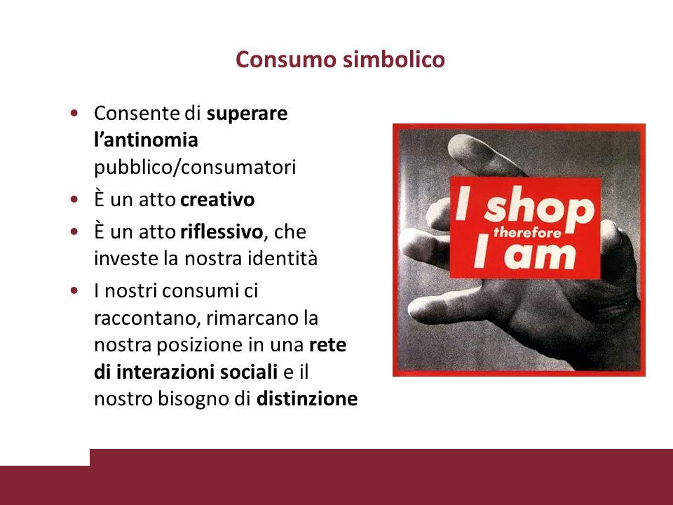 Consumo simbolico Consente di superare l'antinomia pubblico/consumatori. È un atto creativo. È un atto riflessivo, che investe la nostra identità.