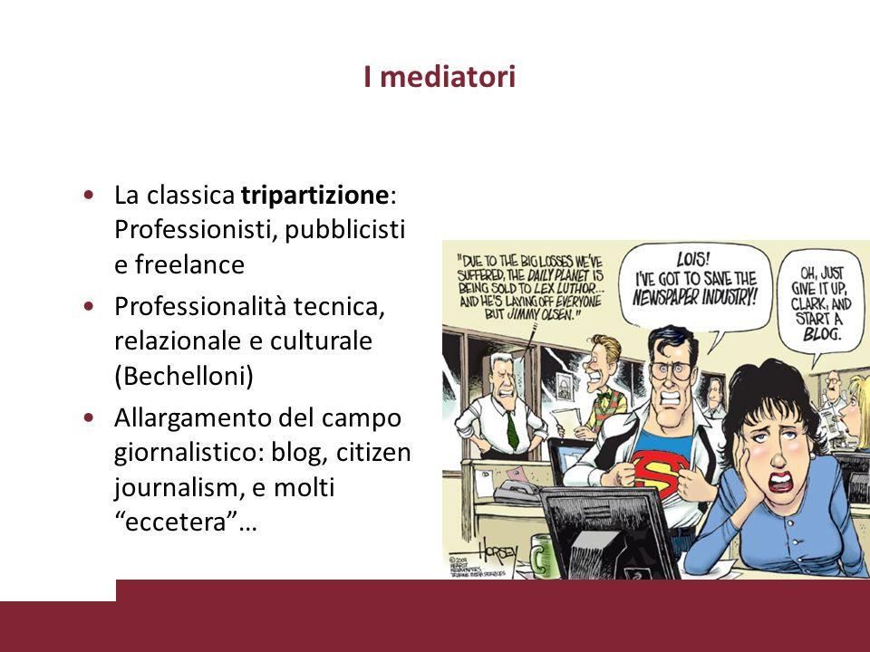 I mediatori La classica tripartizione: Professionisti, pubblicisti e freelance. Professionalità tecnica, relazionale e culturale (Bechelloni)