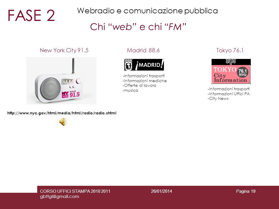 FASE 2 Chi web e chi FM Webradio e comunicazione pubblica