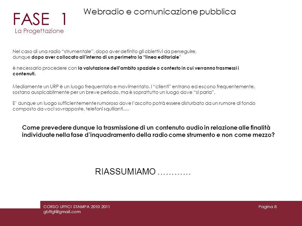 FASE 1 Webradio e comunicazione pubblica RIASSUMIAMO …………