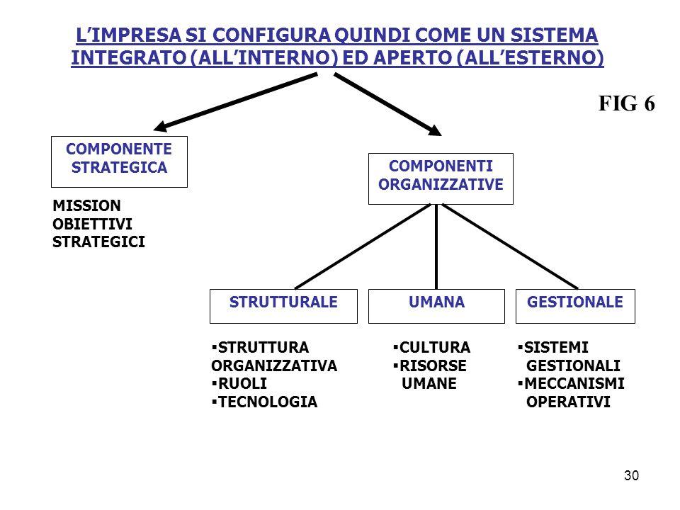 L'IMPRESA SI CONFIGURA QUINDI COME UN SISTEMA INTEGRATO (ALL'INTERNO) ED APERTO (ALL'ESTERNO)