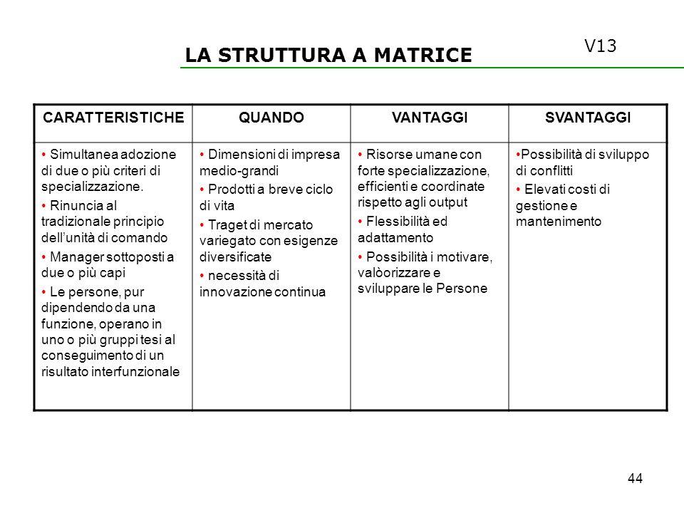 LA STRUTTURA A MATRICE V13 CARATTERISTICHE QUANDO VANTAGGI SVANTAGGI