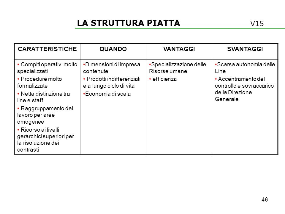 LA STRUTTURA PIATTA V15 CARATTERISTICHE QUANDO VANTAGGI SVANTAGGI