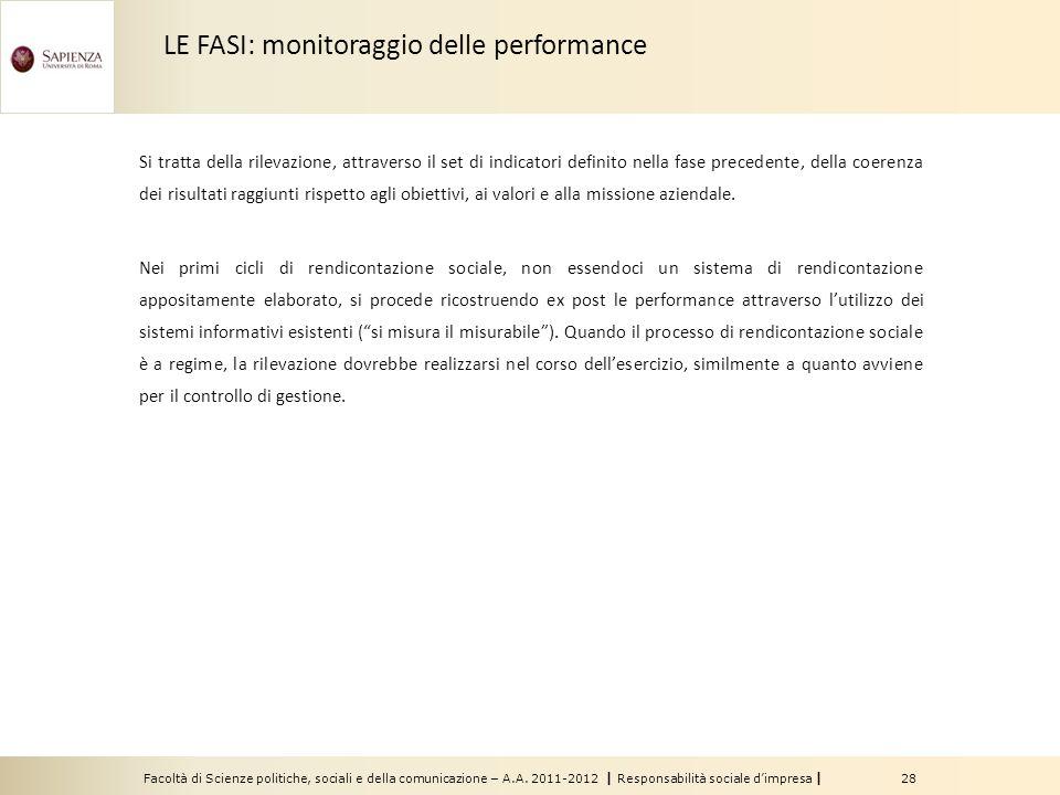 LE FASI: monitoraggio delle performance