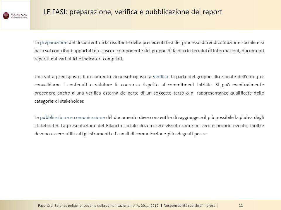 LE FASI: preparazione, verifica e pubblicazione del report