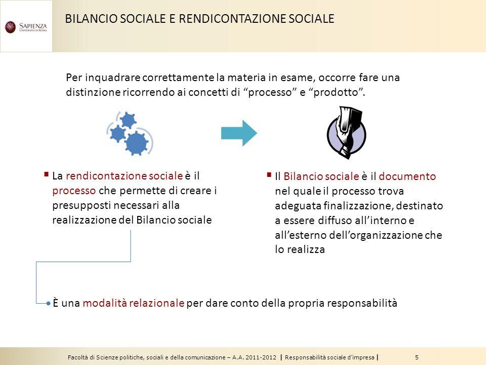 BILANCIO SOCIALE E RENDICONTAZIONE SOCIALE