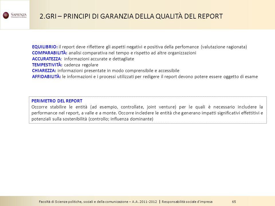 2.GRI – PRINCIPI DI GARANZIA DELLA QUALITÀ DEL REPORT