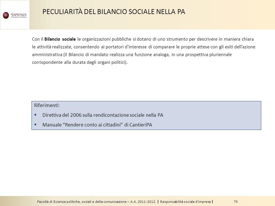 PECULIARITÀ DEL BILANCIO SOCIALE NELLA PA