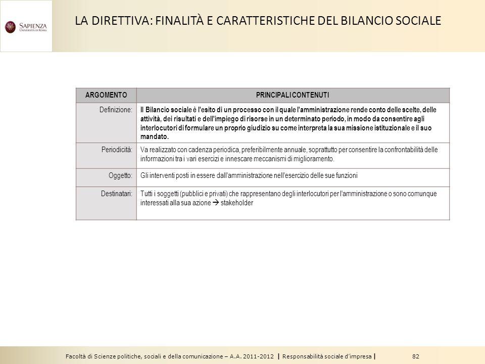 LA DIRETTIVA: FINALITÀ E CARATTERISTICHE DEL BILANCIO SOCIALE