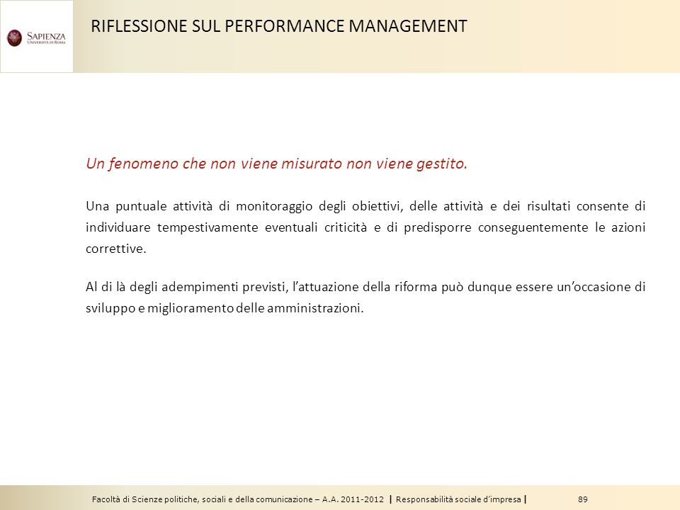 RIFLESSIONE SUL PERFORMANCE MANAGEMENT