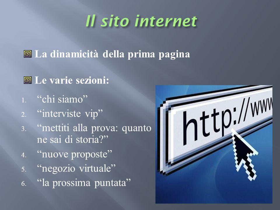Il sito internet La dinamicità della prima pagina Le varie sezioni: