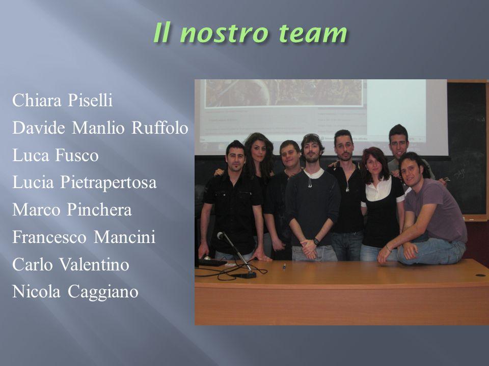 Il nostro teamChiara Piselli Davide Manlio Ruffolo Luca Fusco Lucia Pietrapertosa Marco Pinchera Francesco Mancini Carlo Valentino Nicola Caggiano