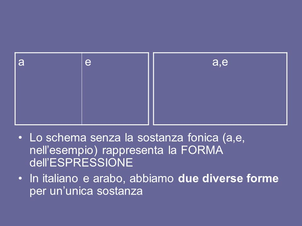 a e. a,e. Lo schema senza la sostanza fonica (a,e, nell'esempio) rappresenta la FORMA dell'ESPRESSIONE.