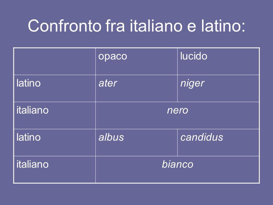 Confronto fra italiano e latino: