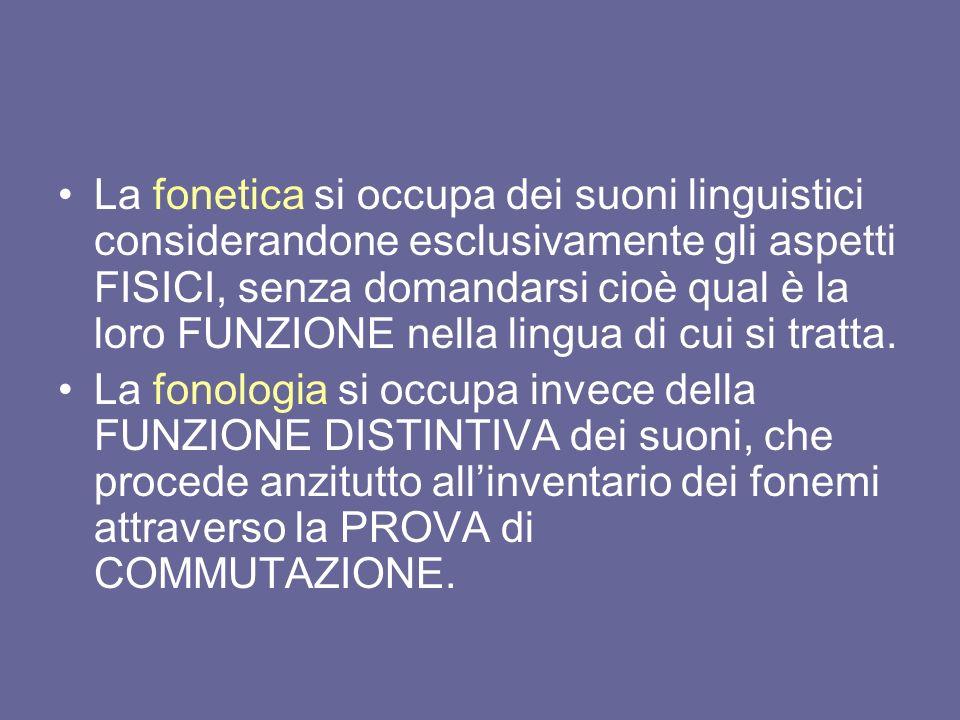 La fonetica si occupa dei suoni linguistici considerandone esclusivamente gli aspetti FISICI, senza domandarsi cioè qual è la loro FUNZIONE nella lingua di cui si tratta.