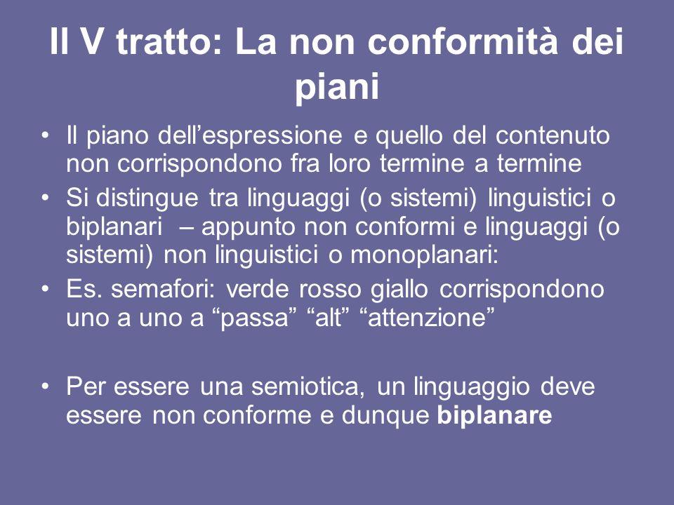 Il V tratto: La non conformità dei piani