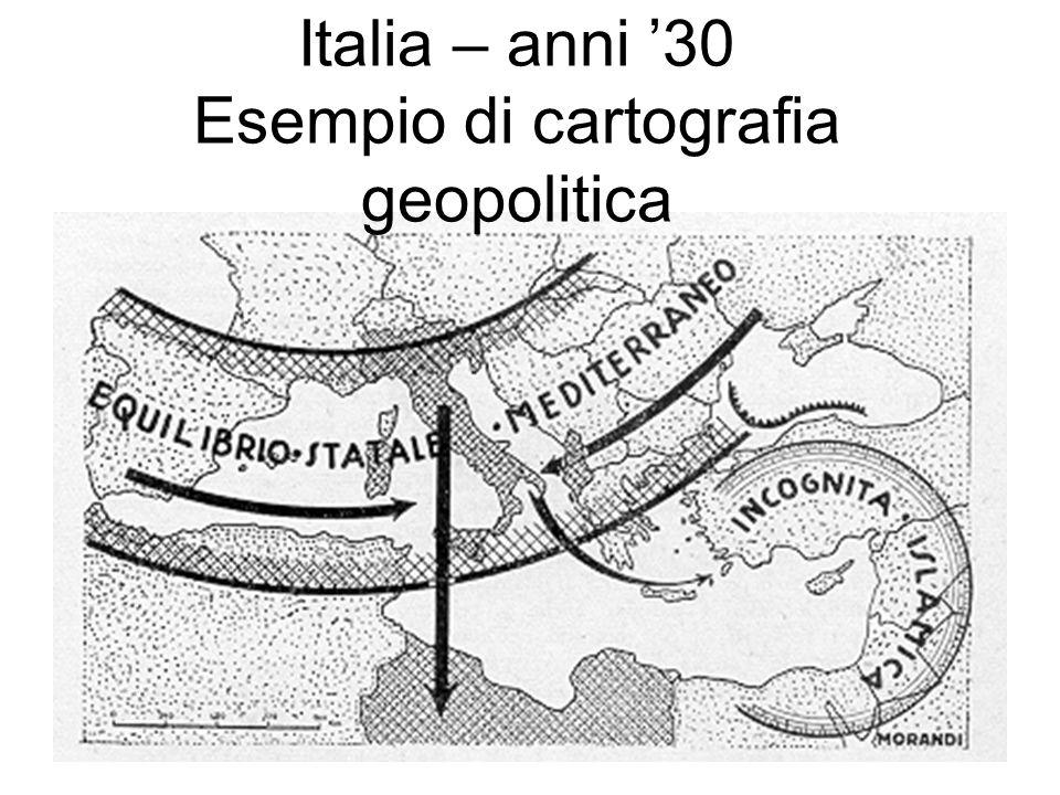Italia – anni '30 Esempio di cartografia geopolitica