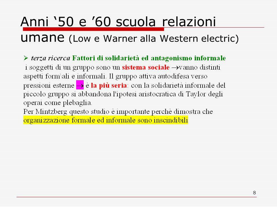 Anni '50 e '60 scuola relazioni umane (Low e Warner alla Western electric)