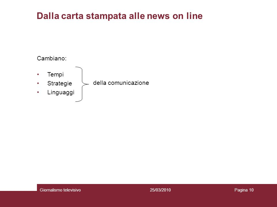 Dalla carta stampata alle news on line