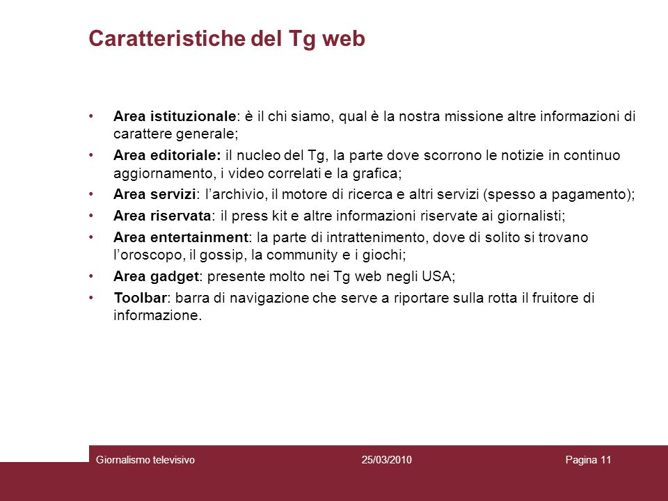 Caratteristiche del Tg web