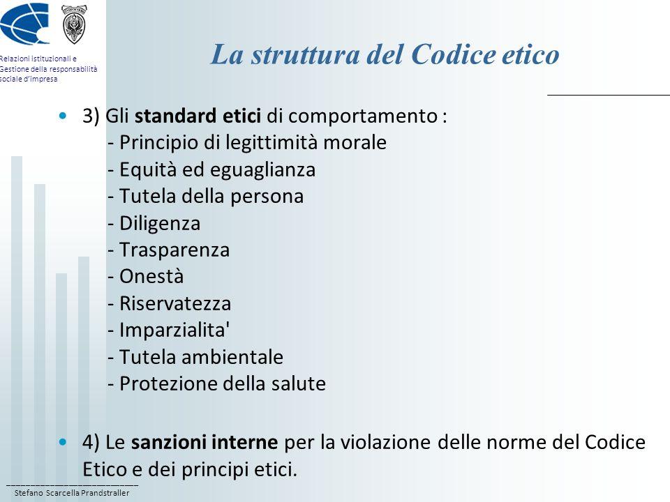 La struttura del Codice etico