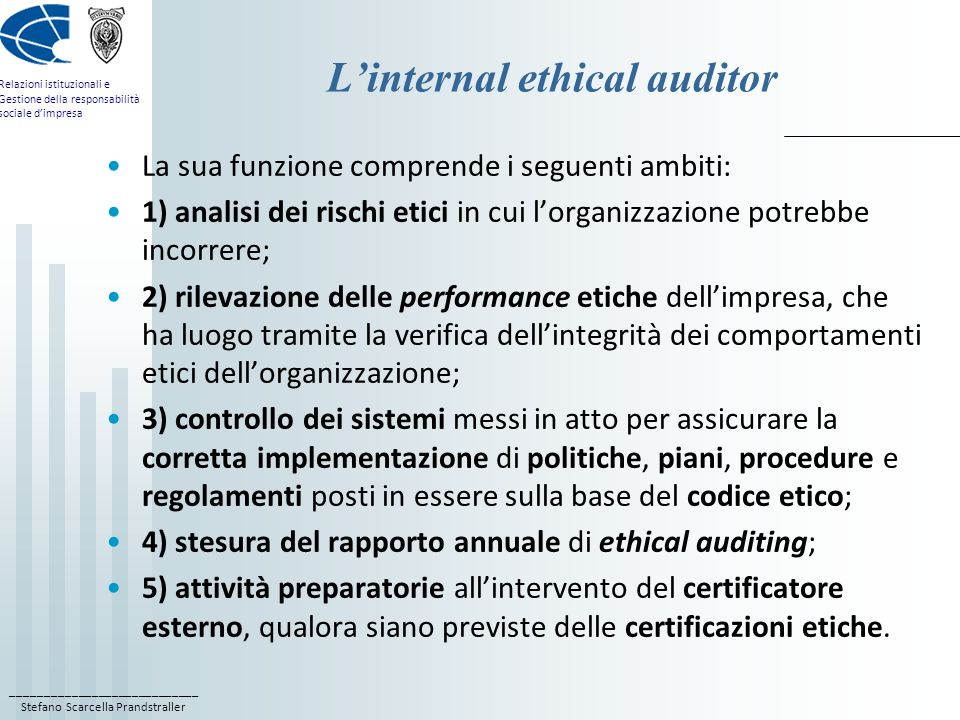 L'internal ethical auditor