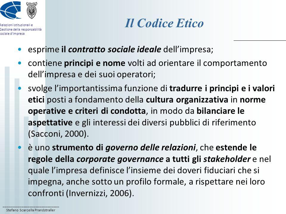 Il Codice Etico esprime il contratto sociale ideale dell'impresa;
