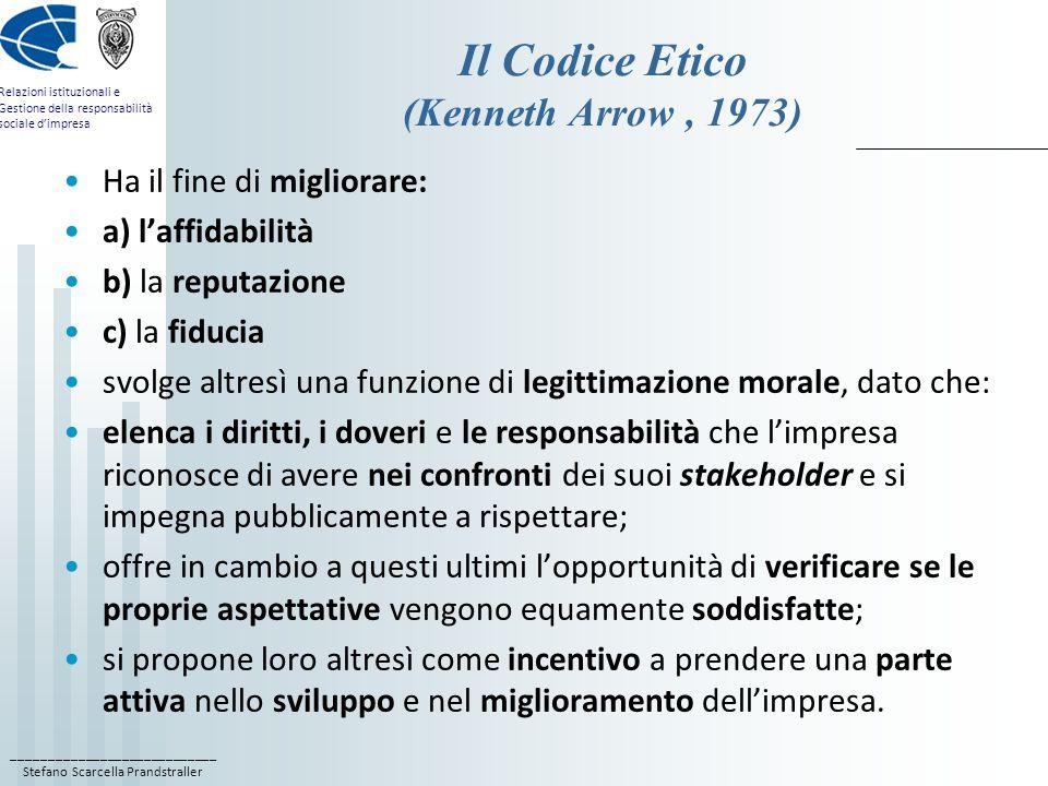 Il Codice Etico (Kenneth Arrow , 1973)