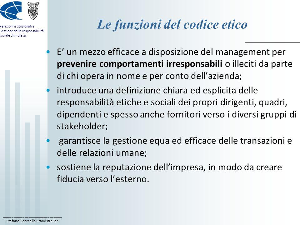 Le funzioni del codice etico