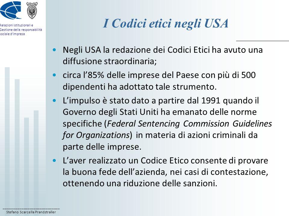 I Codici etici negli USA