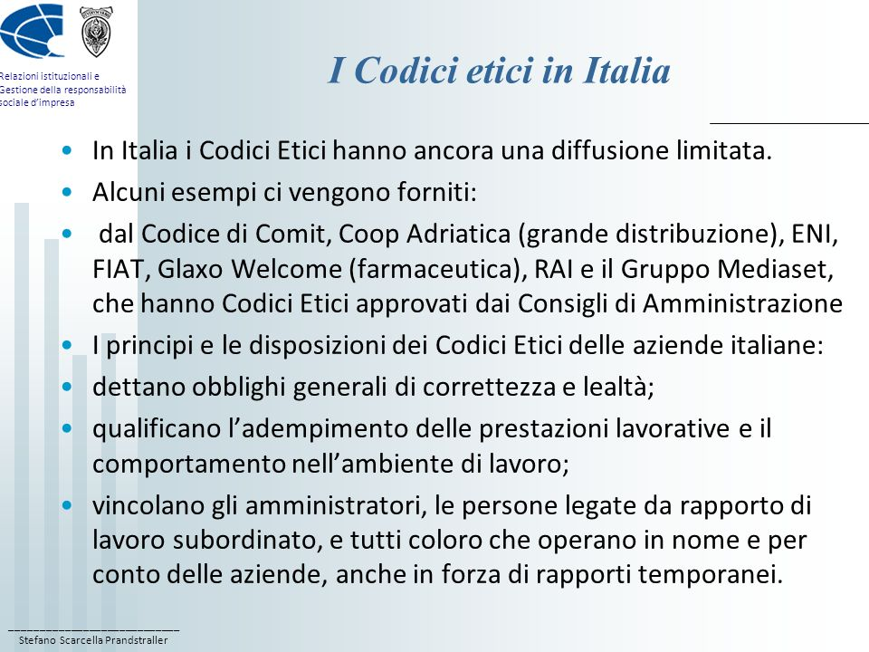 I Codici etici in Italia