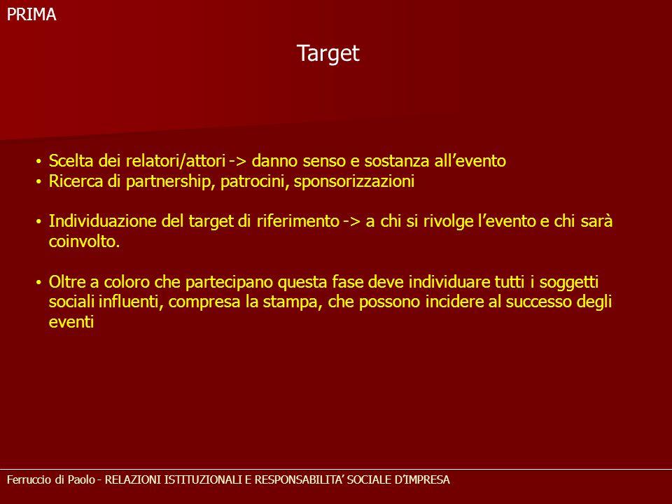 PRIMA Target. Scelta dei relatori/attori -> danno senso e sostanza all'evento. Ricerca di partnership, patrocini, sponsorizzazioni.
