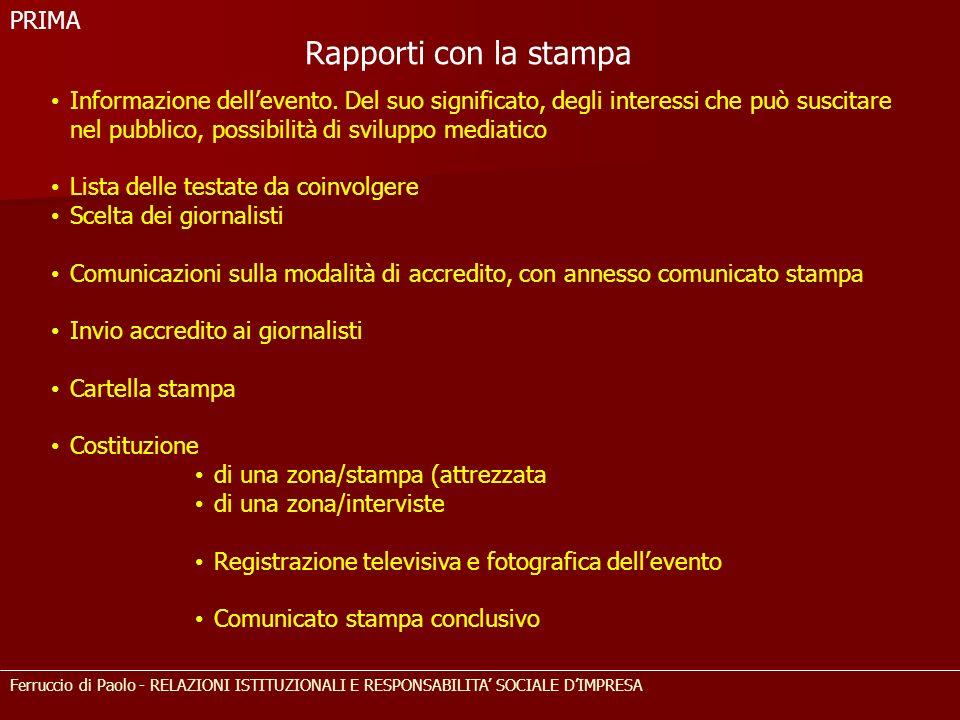 Rapporti con la stampa PRIMA