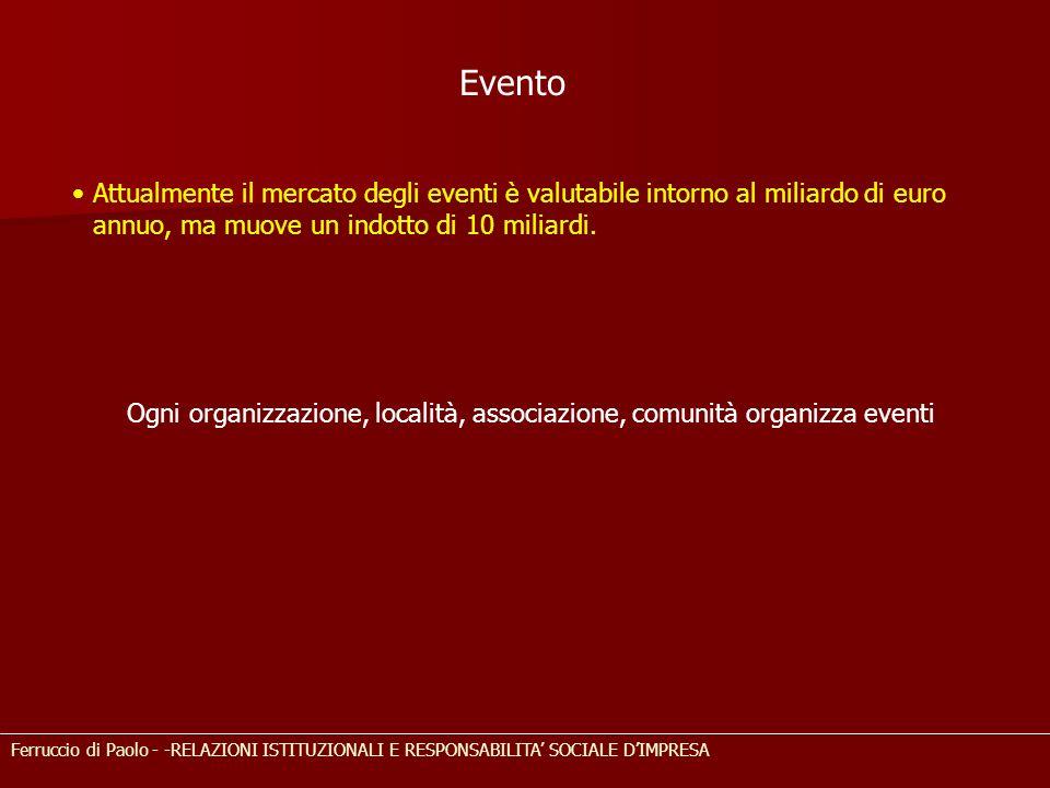 Ogni organizzazione, località, associazione, comunità organizza eventi