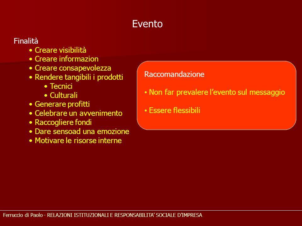 Evento Finalità Creare visibilità Creare informazion