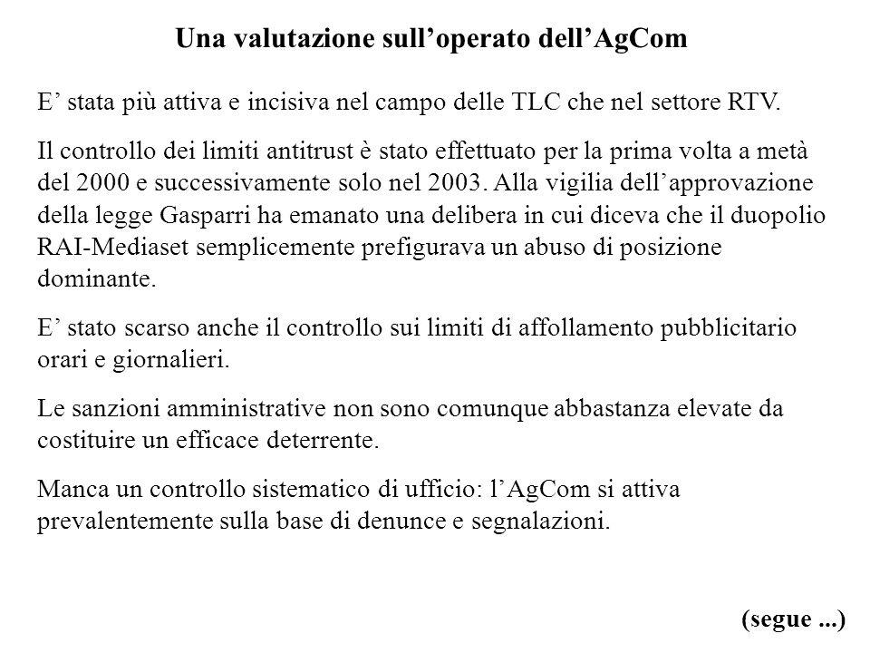 Una valutazione sull'operato dell'AgCom