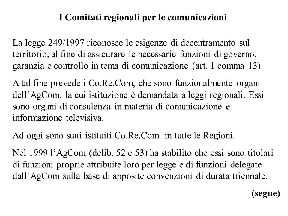 I Comitati regionali per le comunicazioni