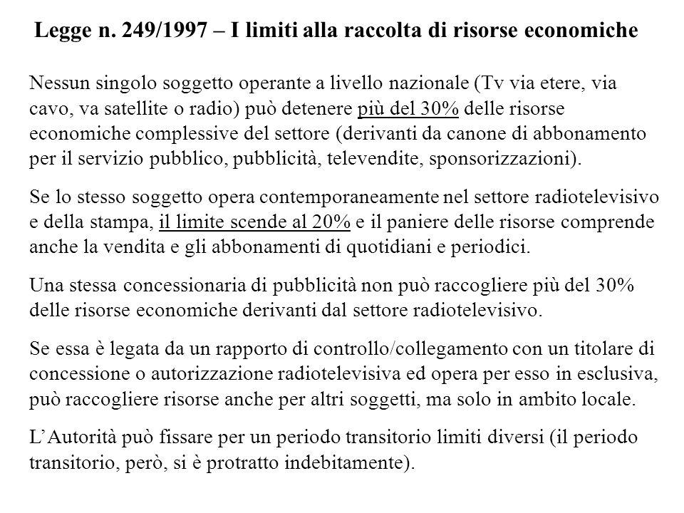 Legge n. 249/1997 – I limiti alla raccolta di risorse economiche