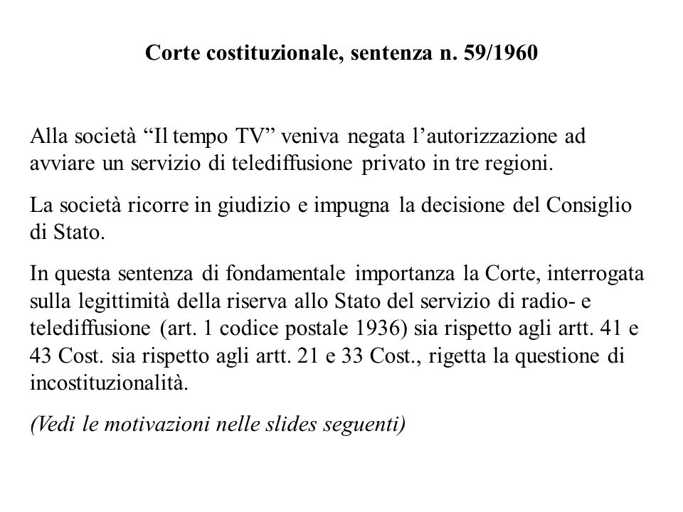 Corte costituzionale, sentenza n. 59/1960