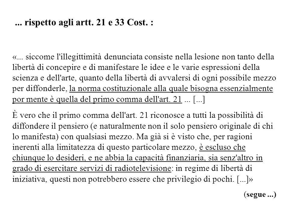 ... rispetto agli artt. 21 e 33 Cost. :
