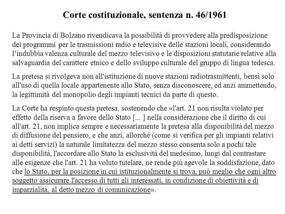 Corte costituzionale, sentenza n. 46/1961