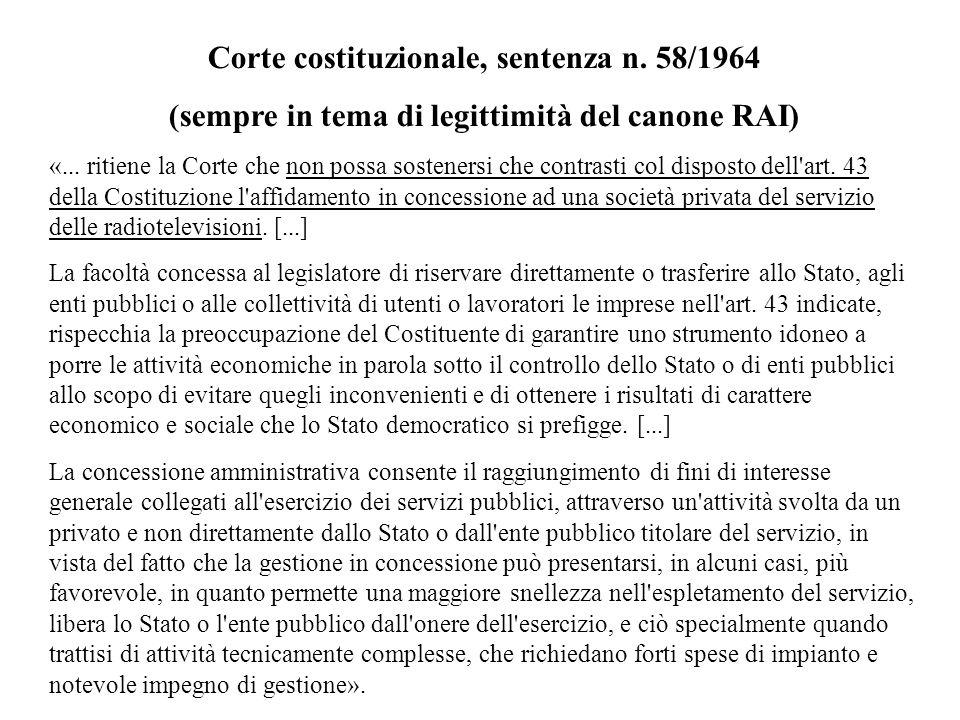 Corte costituzionale, sentenza n. 58/1964