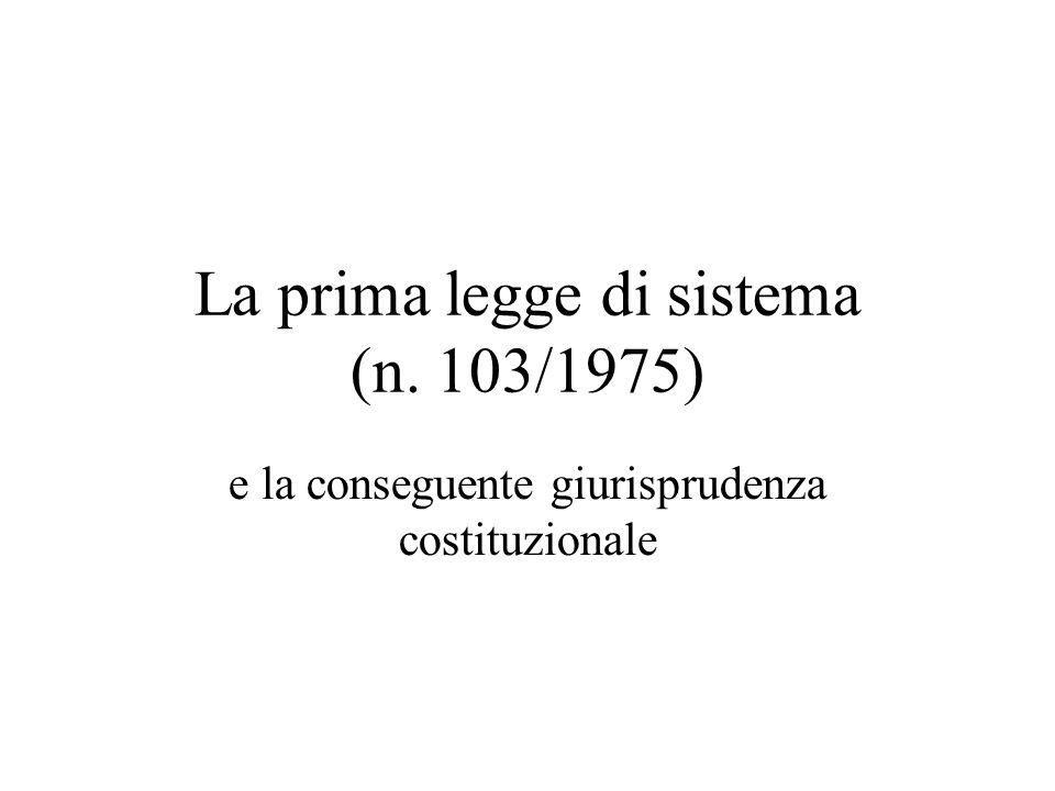 La prima legge di sistema (n. 103/1975)