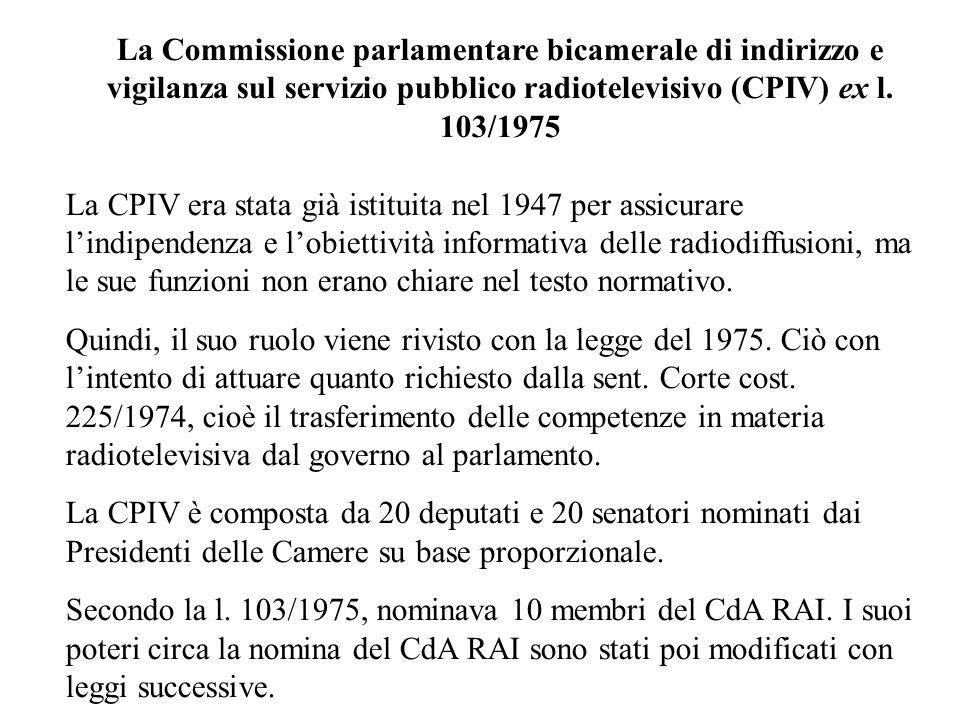 La Commissione parlamentare bicamerale di indirizzo e vigilanza sul servizio pubblico radiotelevisivo (CPIV) ex l. 103/1975