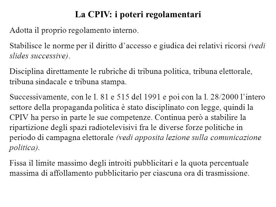 La CPIV: i poteri regolamentari