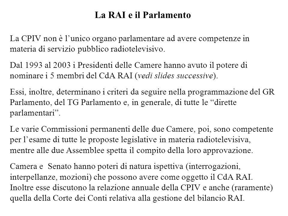 La RAI e il ParlamentoLa CPIV non è l'unico organo parlamentare ad avere competenze in materia di servizio pubblico radiotelevisivo.