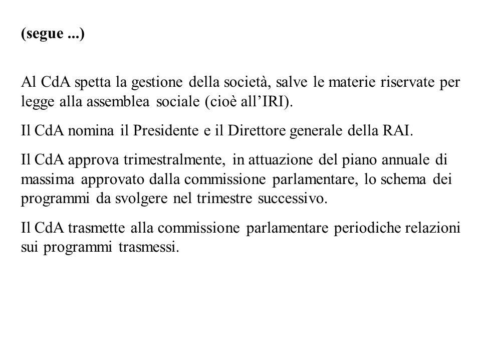 (segue ...)Al CdA spetta la gestione della società, salve le materie riservate per legge alla assemblea sociale (cioè all'IRI).