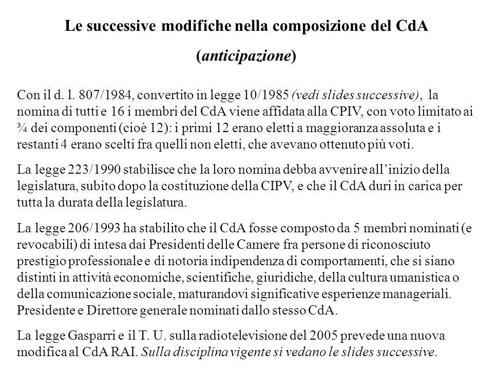 Le successive modifiche nella composizione del CdA