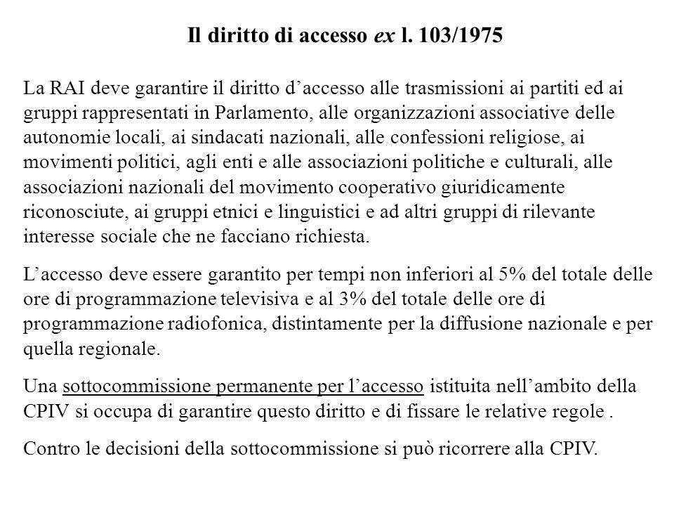 Il diritto di accesso ex l. 103/1975
