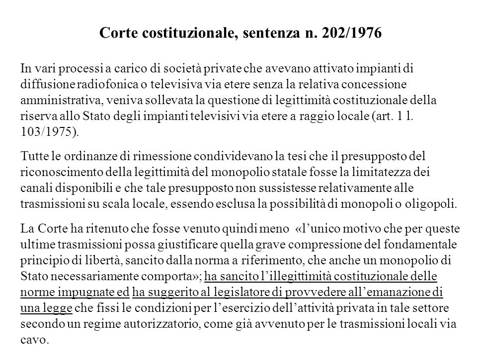 Corte costituzionale, sentenza n. 202/1976